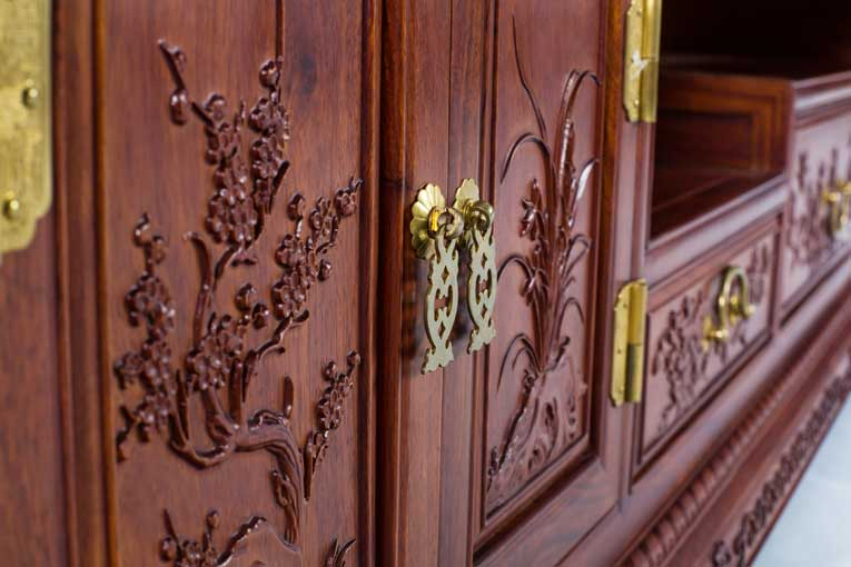 中式古典虎脚平面电视柜|电视柜|万宝红红木家具有限
