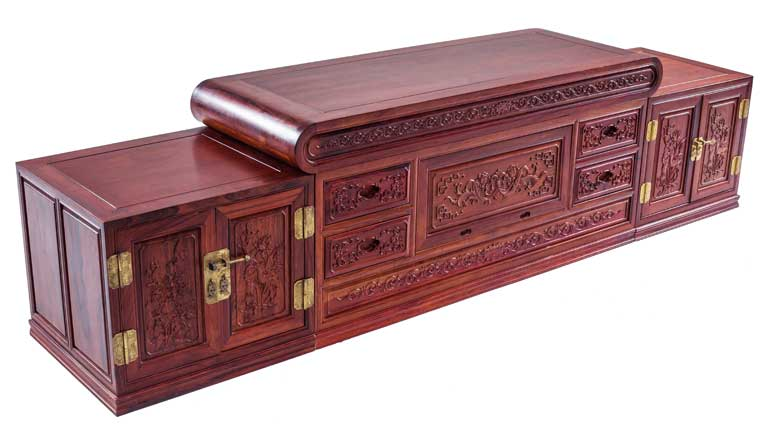 中式古典三组合电视柜|电视柜|万宝红红木家具有限公司