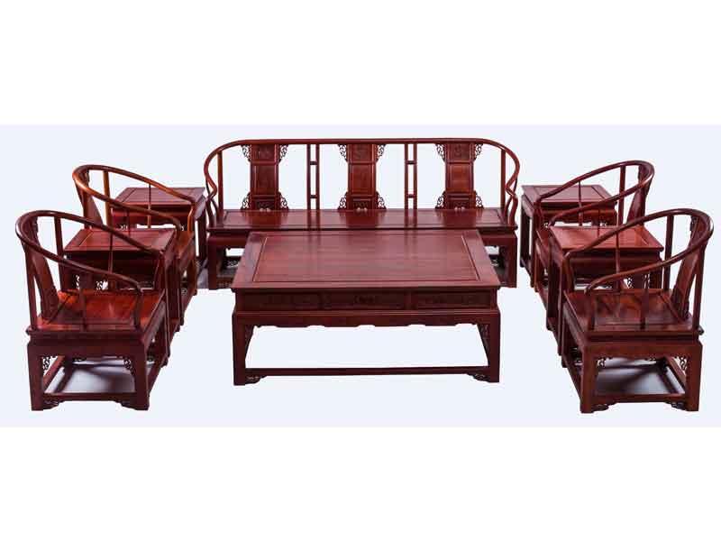 万宝红缅甸花梨圈椅沙发10件套