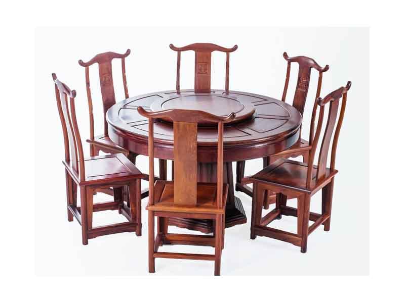 万宝红缅甸酸枝明式1.38米圆台餐桌