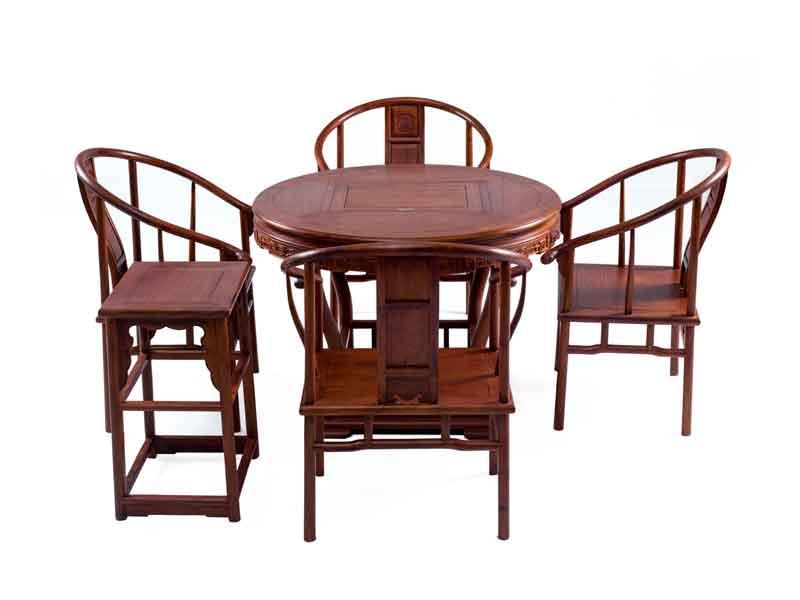 万宝红缅甸花梨明式圆形茶桌