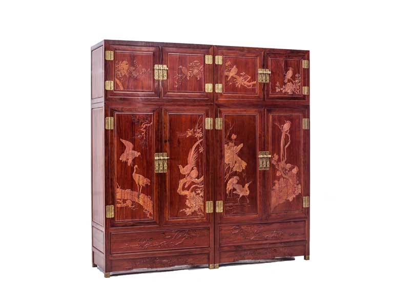 万宝红缅甸酸枝丝雕顶箱柜