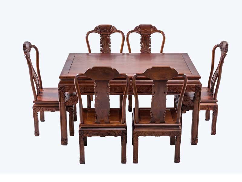 万宝红缅甸花梨象头餐桌