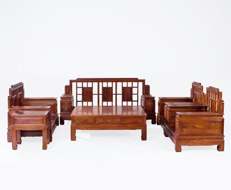 万宝红新中式缅甸花梨锦绣沙发