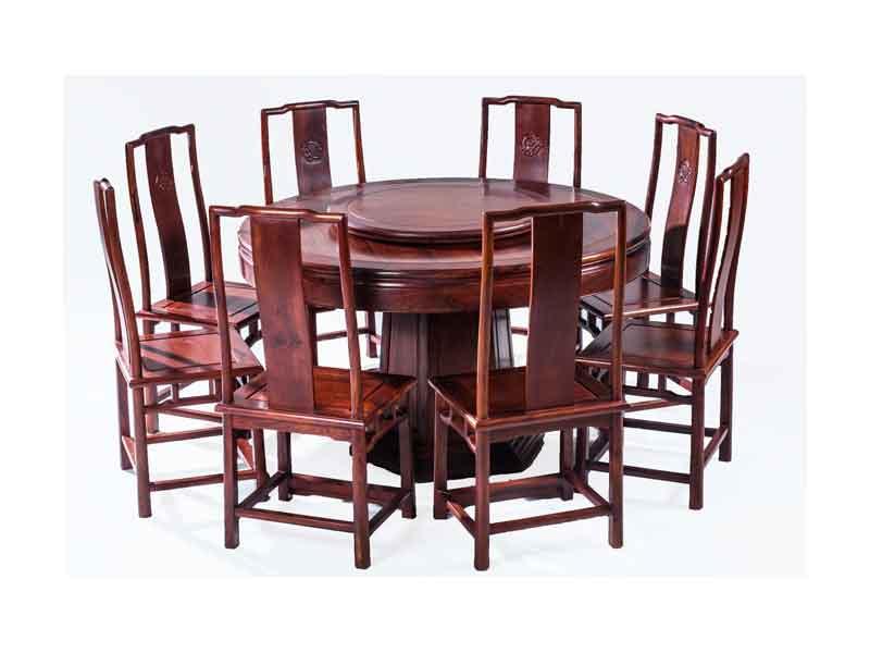 万宝红缅甸花梨明式1.53米圆台餐桌