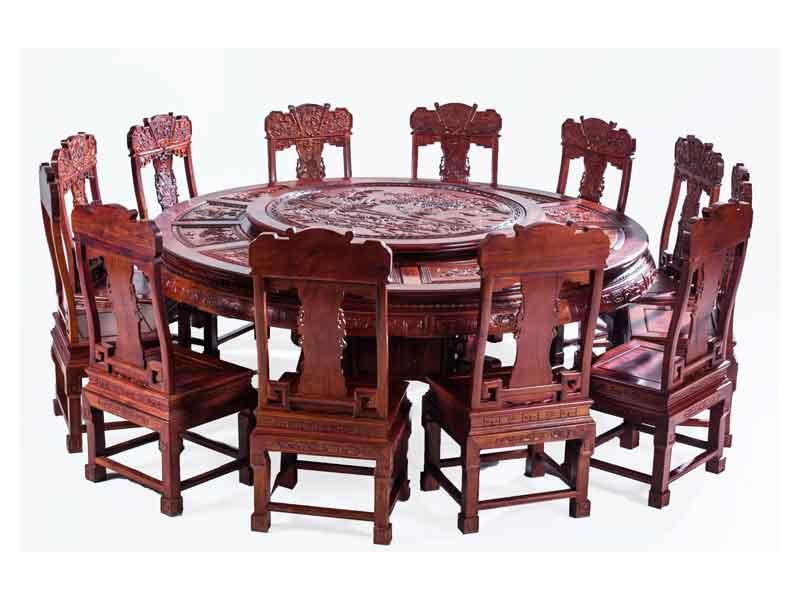 万宝红缅甸酸枝满雕2.12米圆台餐桌