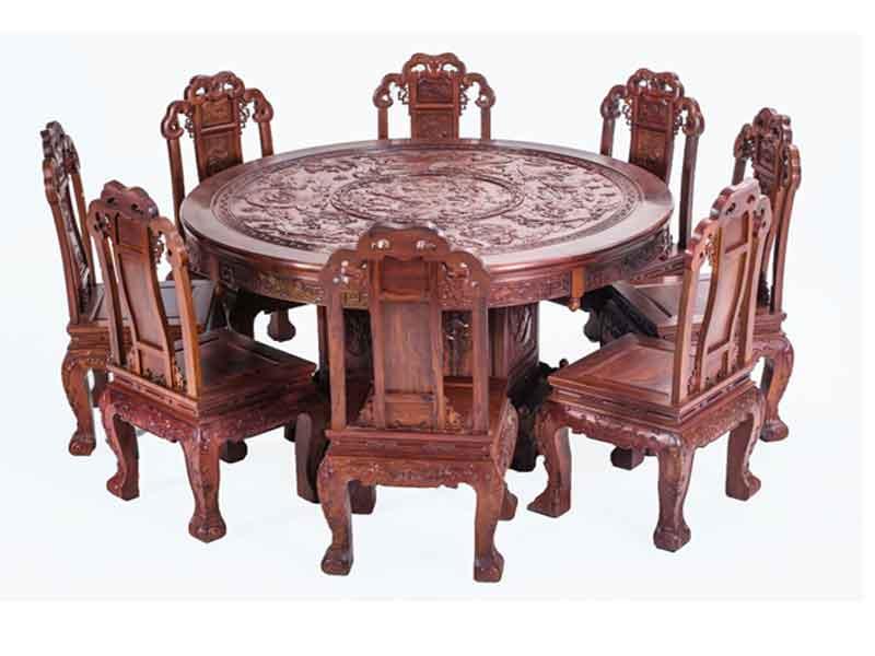 万宝红缅甸酸枝飞天餐桌圆台