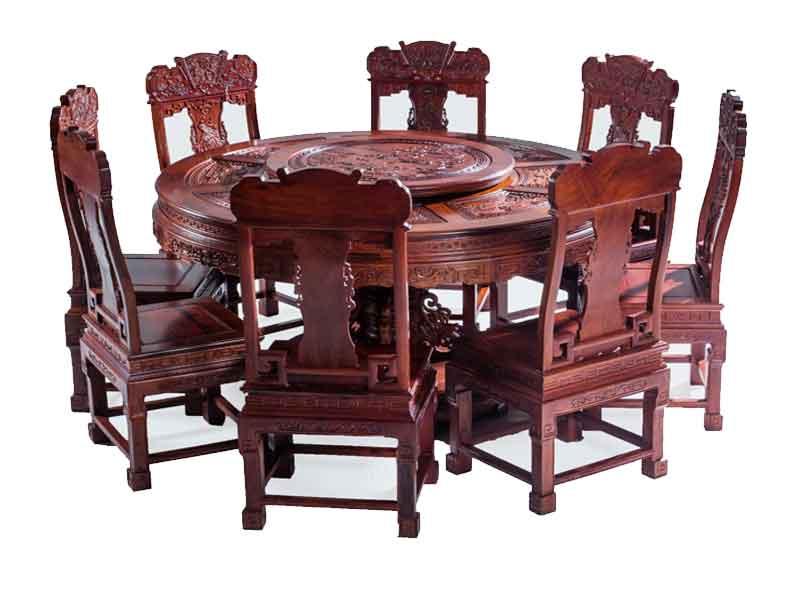 万宝红缅甸酸枝满雕1.53米圆台餐桌
