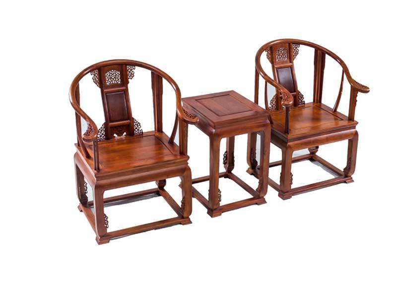 万宝红缅甸花梨皇宫椅三件套