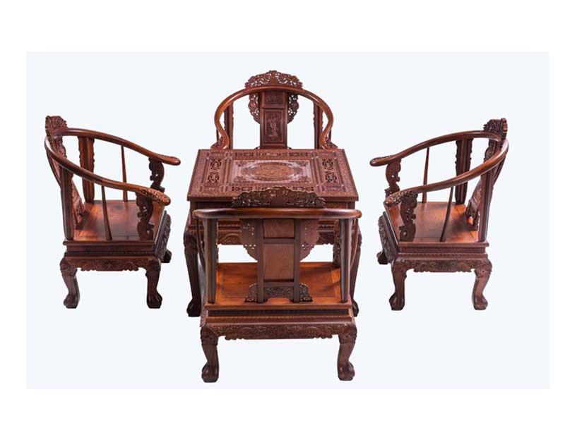 万宝红缅甸花梨宫椅休闲桌
