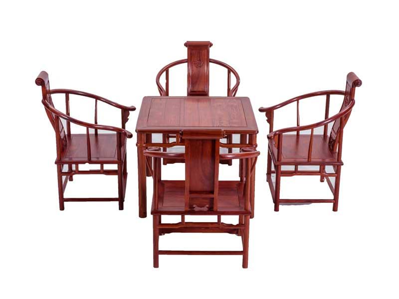 万宝红缅甸酸枝圈椅休闲桌