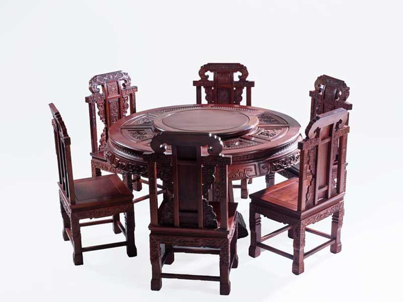 万宝红138缅甸酸枝雕花圆台餐桌