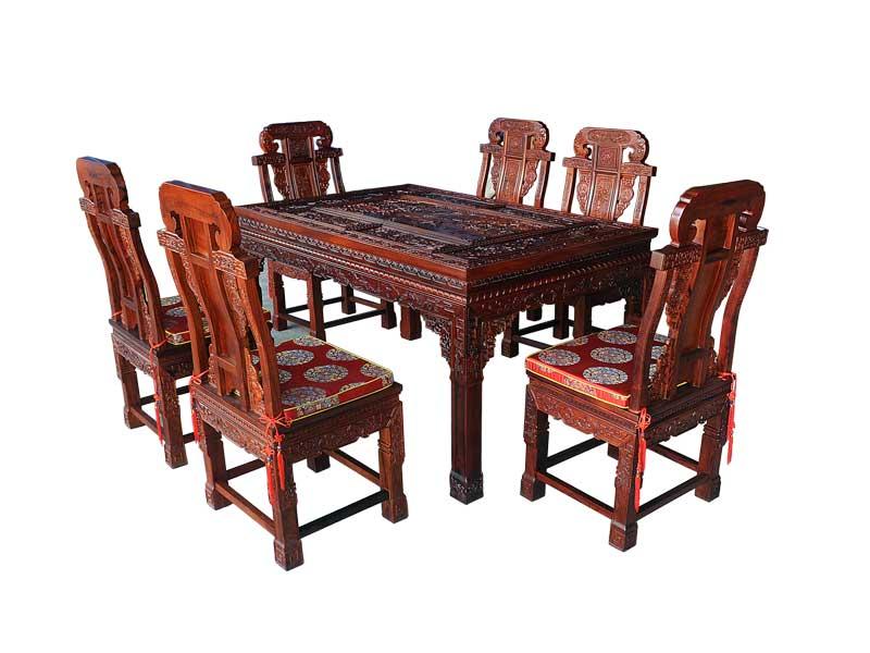 万宝红缅甸酸枝满雕餐桌
