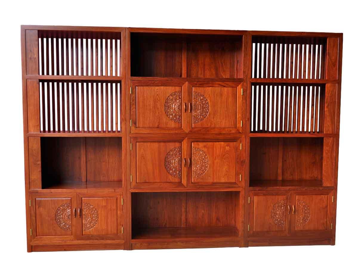 万宝红缅甸花梨明三组合书柜